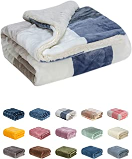 WONDER MIRACLE Fuzzy Sherpa Double Layers Super Thick and Warm Fleece Reversible Infant,Baby,Toddler,pet Blanket for Crib, Stroller, Travel, Couch and Bed (40Wx50L, Blue Grid)