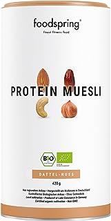 foodspring Muesli Proteico, 420g, Dátiles-Frutos secos, Muesli proteico con finos copos de soja, 100% calidad orgánica