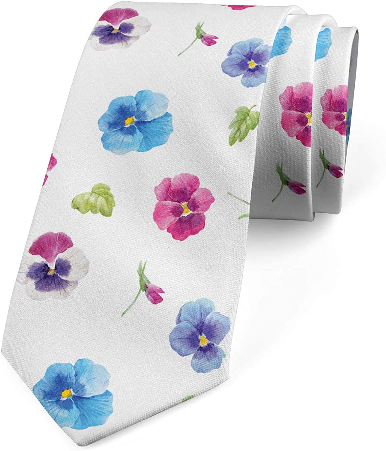Ambesonne Necktie, Pansy Petals and Sprouts, Dress Tie, 3.7