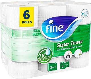 Fine, Sterilized Paper Towel - Super Towel, Sterilized, 40 Sheets, 2 Ply, pack of 6 rolls