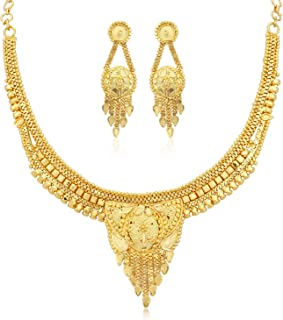 Sukkhi Exotic 24 Carat Gold plated Wedding Jewellery Choker Necklace Set for Women (N73731)