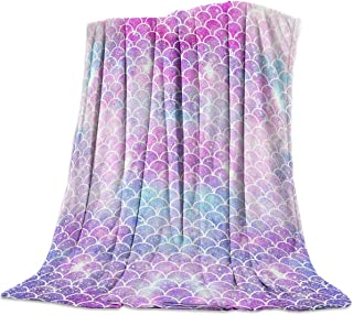 T&H Home Artistic Blanket, Ombre Beauty Mermaid Fish Scale Soft Flannel Fleece Bed Blacket for Couch, Throw Blanket for Cover Men Women Aults Kids Girls Boys 40