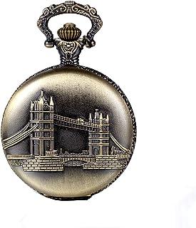 JewelryWe Vintage Pocket Watch Retro London Bridge Pattern Pendant Watch Classic Locket Necklace Watch for Xmas Christmas