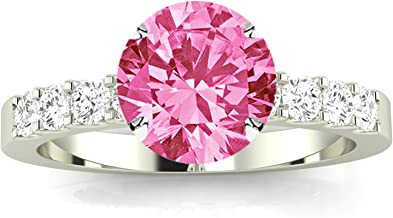 Classic Prong Set Diamond Engagement Ring with a 1 Carat Pink Sapphire Heirloom Quality Center