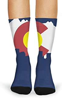 FanYe American Flag red line and Blue Line Print Fashion Casual Novelty Crew Socks for Women