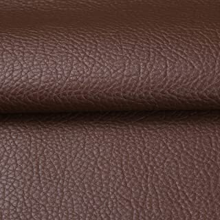 Desirable Life Vinyl Faux Leather Fabric Cotton Back by The Yard for Hand Crafts DIY Tooling Sewing Hobby Workshop Crafting Wallet Making Square 54 Inches Wide 0.03 Inches Thick (Dark Brown)
