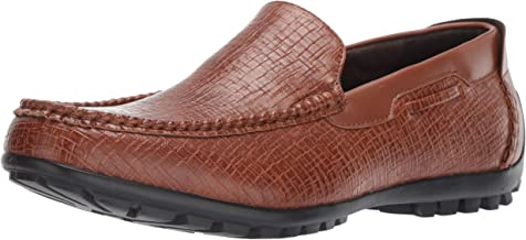 STACY ADAMS Men's Kian Moc Toe Slip On Driver Loafer Driving Style, tan, 8.5 M US