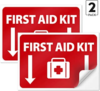 (2 Pack) First Aid Kit Sign Sticker, 10x7 Inches 4 Mil Vinyl Self Adhesive Durable Decal Stickers Long Lasting Weatherproof and UV Protected, Made in USA by SIGO SIGNS