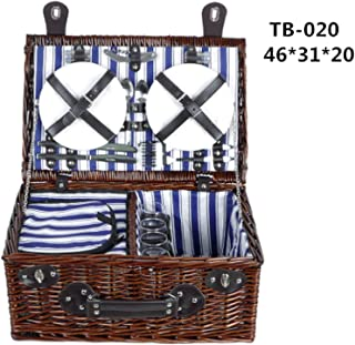 Wicker Basket Wicker Camping Picnic Basket Outdoor Willow Picnic Baskets Handmade Picnic Basket Set for 4Persons Picnic Party,TB-020,Other