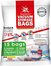 Vacuum Storage Bags - Pack of 15 (3 Jumbo + 4 Large + 4 Medium + 4 Small) ReUsable Space Savers | Free Hand Pump for Trave...