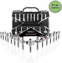 TACKLIFE Set Frese per Legno 19 Pezzi, Taglierina Fresare, Gambo 8mm, per Lavorazione del Legno, Fresatrici Verticali - ARB03C