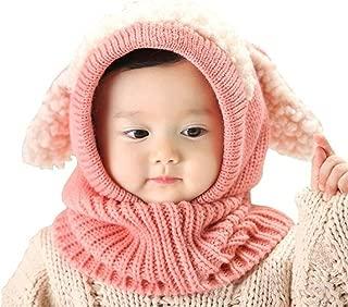 Baby Girls Boys Winter Hat Scarf Earflap Hood Scarves Caps (Pink)
