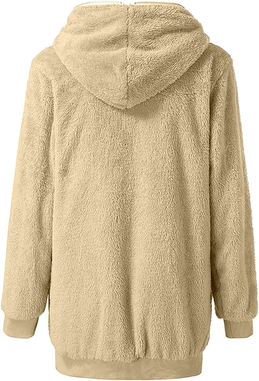 wodceeke Women's Solid Long Sleeve Hooded Zip Up Faux Shearling Shaggy Oversized Coat Jacket for Warm Winter