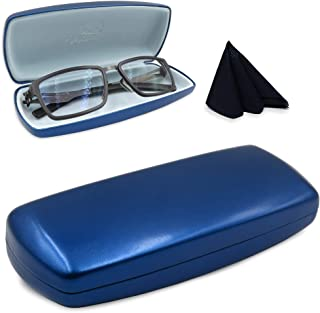 MyEyeglassCase Hard eyeglass case w/cleaning cloth | medium size for men, women