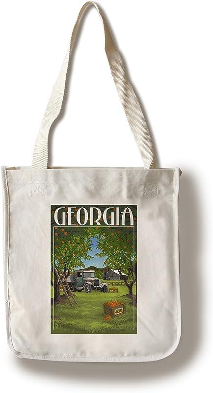 Lantern Press Atlanta Georgia Peach Orchard 100 Cotton Tote Bag Reusable
