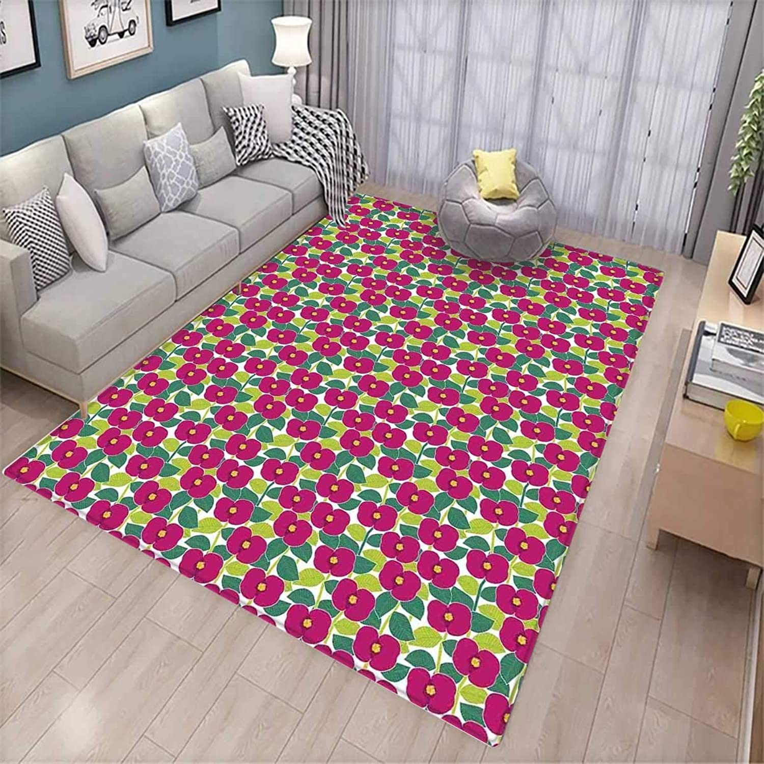 Blossoming Nature Themed Botanical Composition of Flowers and Foliage Leaves Floor Mat Rug Indoor Front Door Kitchen and Living Room Bedroom Mats Rubber Non Slip