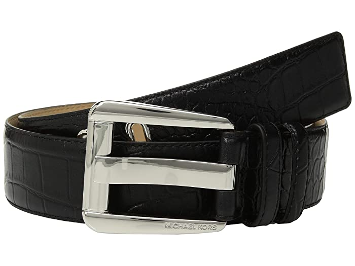 MICHAEL Michael Kors 42 mm Croco Belt (Black) Women