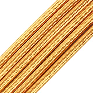 32.8ft Fabric Cloth Covered Round Wire,PRUNLLA Vintage 18/2 Industrial Electrical Lamp Cord, 18-Gauge Antique Style for Retro Lamp, DIY Projects (Brass)