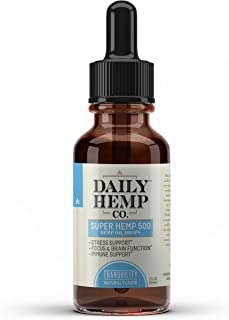 Daily Hemp Co. Super Hemp Oil, Hemp Extract Drops, For Pain Relief, Anti Anxiety, Anti-Inflammatory, Stress Relief, Helps With Sleep, Skin And Heart Health, Natural Flavor, 1 Fl Oz. (30 ml)