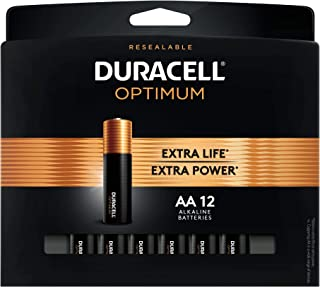 Duracell Optimum 1.5V Alkaline AA Batteries - Long Lasting, Double A Battery with Convenient, Resealable Package - 12 Count