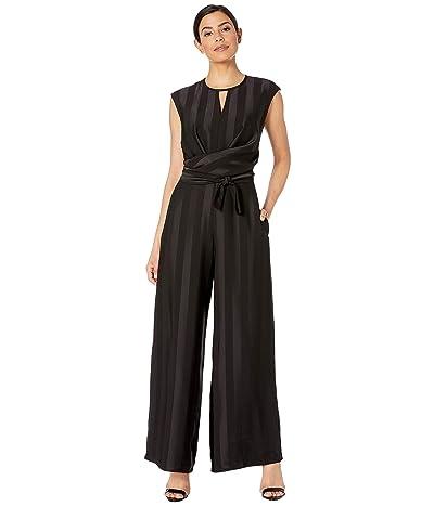 Maggy London Matte Shine Stripe Cocktail Jumpsuit (Black) Women