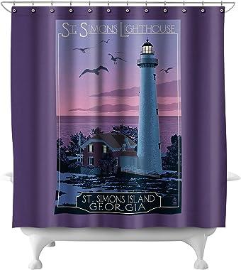 Lantern Press St. Simons, Georgia - Lighthouse (71x74 Polyester Shower Curtain)