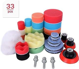 Aimocar Polijstspons kit met polijstpad voor auto, 33 stuks handpolijstpads spons wol polijstset klittenband 30 mm 50 mm 8...