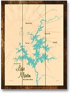 Lake Martin Alabama Vintage-Style Map Rustic Wood Art Print by Lakebound (9