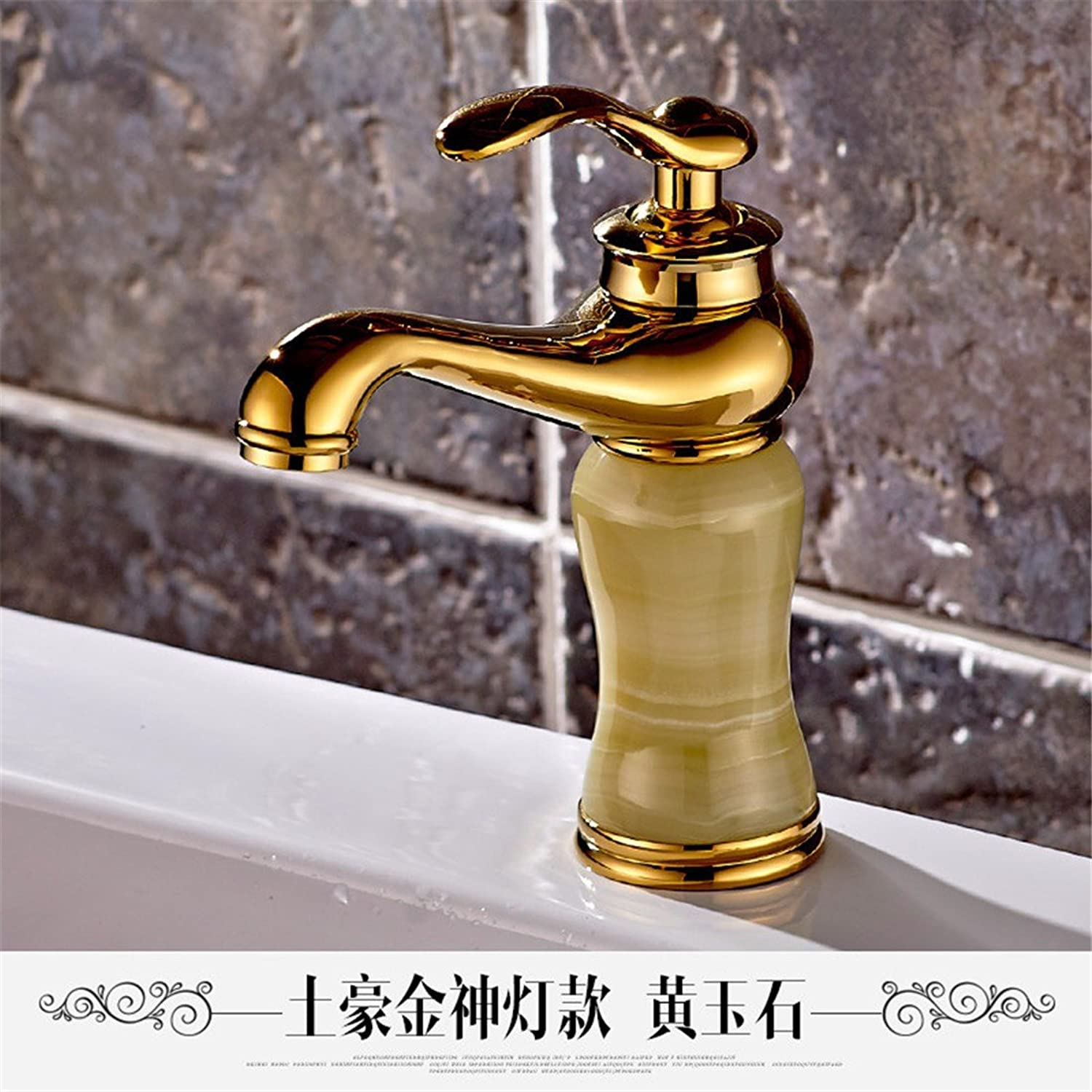 Hlluya Professional Sink Mixer Tap Kitchen Faucet The Jade faucet marble washbasins pink gold basin full copper golden basin of hot and cold taps, God light golden yellow corn