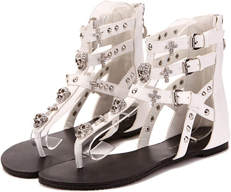 Micca Bacain New Cross Skull Women Fashion Sandals Flat Sandals Slippers Flip Flops