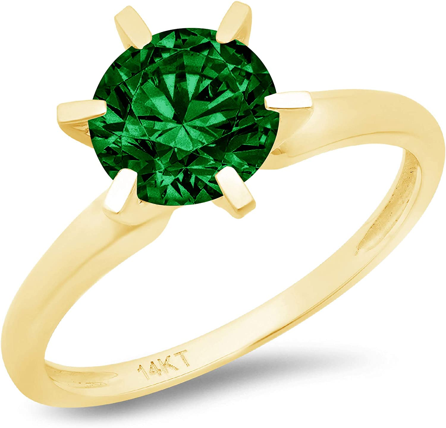 2.9ct Brilliant Round Cut Solitaire Flawless Simulated CZ Green Emerald Ideal VVS1 6-prong Engagement Wedding Bridal Promise Anniversary Designer Ring in Solid 14k Yellow Gold for Women