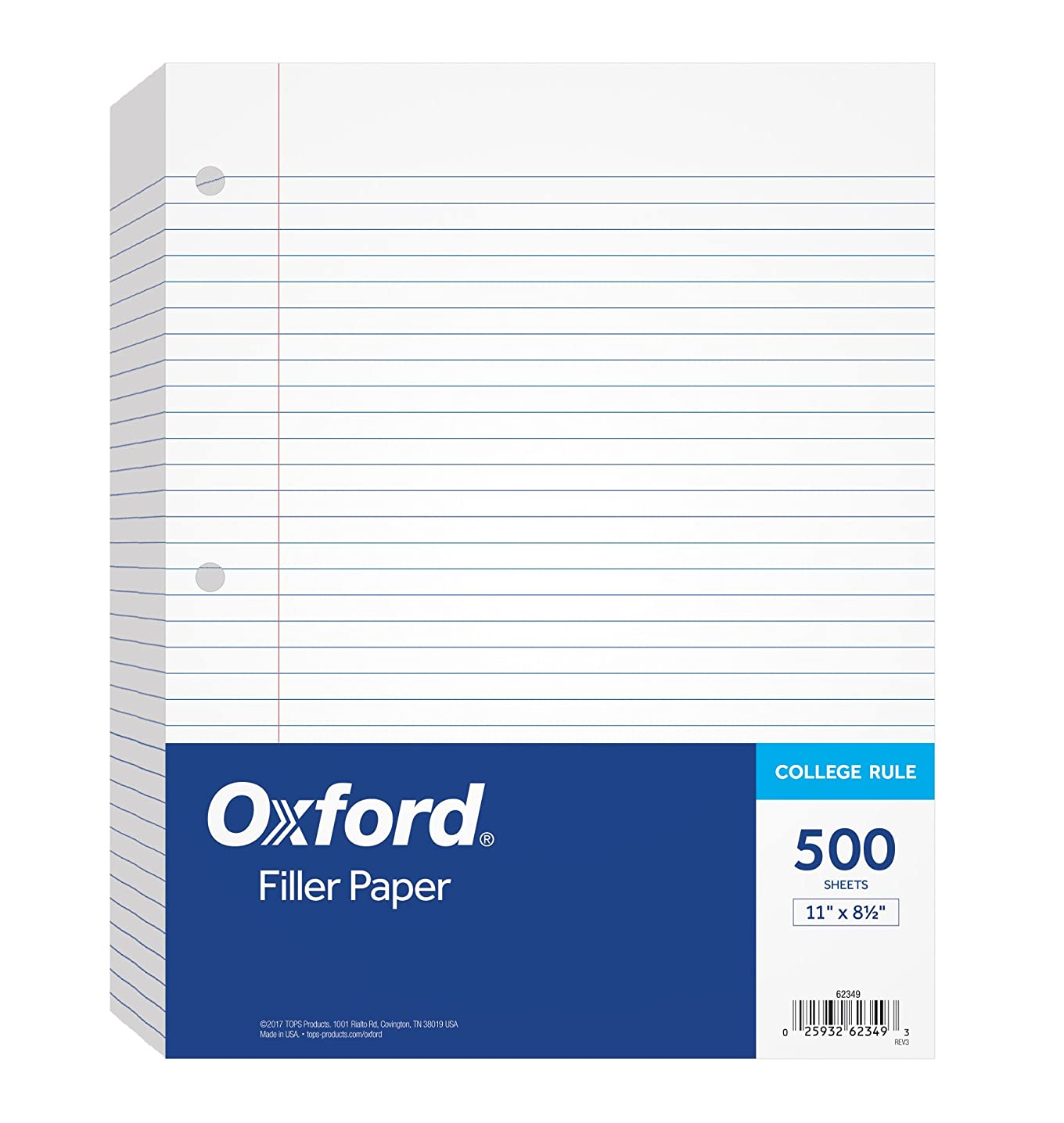 Oxford Filler Paper, 8-1/2 in x 11 in, College Rule, 3-Hole Punched, Loose-Leaf Paper for 3-Ring Binders, 500 Sheets Per Pack, 62349