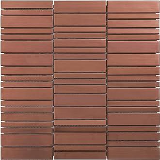 Modket TDH413RG-5 Rose Gold Copper Color Metallic Metal Glass Blended Herringbone /— 5 Pack Modern Mosaic Tile Backsplash Kitchen Bath Bathroom Shower Interior Wall