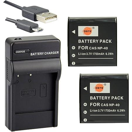 DSTE® アクセサリーキット Casio NP-40 互換 カメラ バッテリー 2個+USB充電器キット対応機種 Exilim EX-FC100 EX-FC150 EX-FC160S EX-Z400 EX-Z100 EX-Z1000