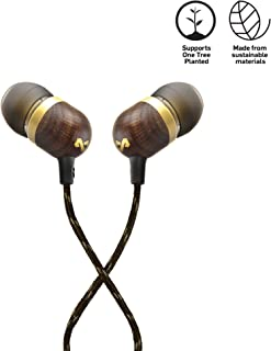 House of Marley Smile Jamaica In-Ear Headphones, 1 Button Mic Control Earphones, Noise Isolating 9.2mm Driver, Earbuds Included in 2 Sizes for Lasting Comfort, Tangle-Free Cable - Brass(EM-JE041-BA)