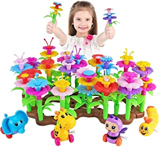 Aitey Flower Garden Building Toys for Girls, Kid Gardening Set with 4 Wind-Up Toys for 3, 4, 5, 6 Year Old Toddler Birthda...