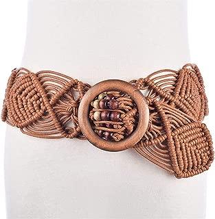 XWenwuSUM New Handmade Wax Rope Woven Wooden Buckle Wooden Beads Belt National Wind Waist Chain Belt (Color : Brown, Size : 100-135CM)