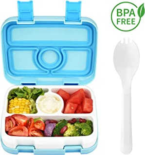 Kids Bento Lunch Box, Leak Proof Lunchbox for Children 4 Compartment Food Container with Spoon, On-the-Go Meal and Snack Packing Dishwasher Microwave Safe for Toddler School, BPA-Free
