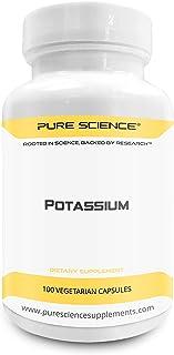 Pure Science 99mg de potasio derivado de 595 mg de gluconato de potasio con 5 mg de BioPerine (potenciador de la biodisponibilidad natural para una mejor absorción) - 100 cápsulas vegetarianas
