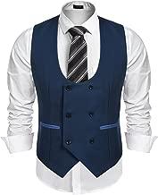 COOFANDY Men's Slim Fit Sleeveless Suit Vest Double Breasted Business Dress Waistcoat