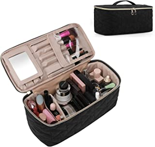 BAGSMART Makeup Bag Cosmetic Bag Large Toiletry Bag Travel Bag Case Organizer for Women, Black
