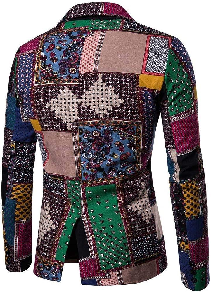 MODOQO Men's Tuxedo Jacket Casual Slim Fit Dashiki Cardigan Suit Blazer for Party Prom Blazer