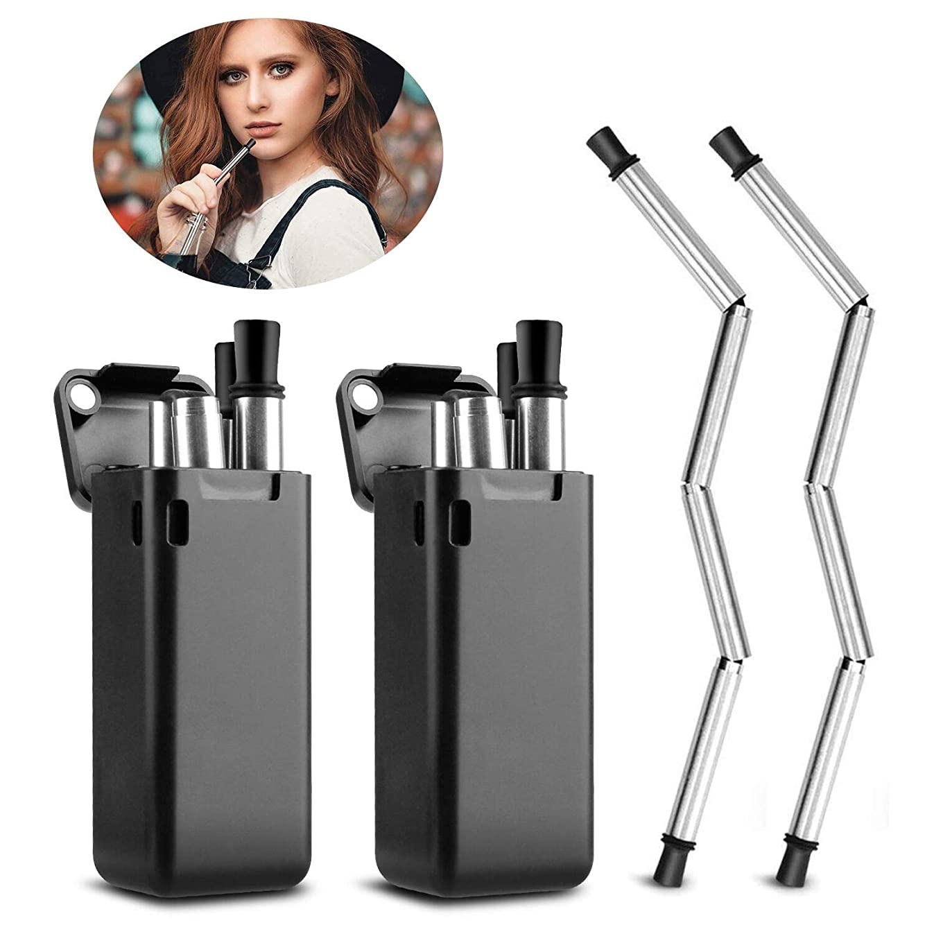 Collapsible?Straw?Reusable?Stainless?Steel,?KKTICK?Food-Grade?Portable?Folding?Drinking?Straws,?Metal?Straws?with?Case?and Cleaning?Brush?for?Travel,?Household,?Outdoor?-?2?Pack?(Black)
