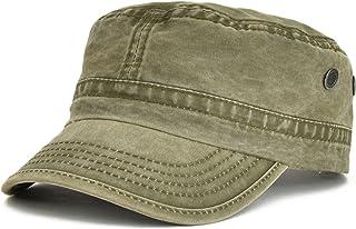 VOBOOM Washed Cotton Military Caps Cadet Army Caps Unique Design Vintage Flat Top Cap