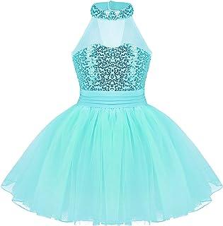 JEATHA Kids Girls Shiny Sequins Sleeveless Mock Neck Ballet Dance Ice Roller Skating Dress Dancewear Keyhole Cutout Back