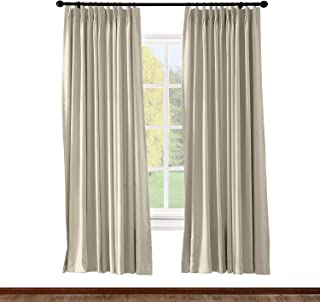 ChadMade Pinch Pleated Curtain Solid Thermal Insulated Blackout Patio Door Panel Drape for Traverse Rod and Track, Beige 72W x 84L Inch (1 Panel)