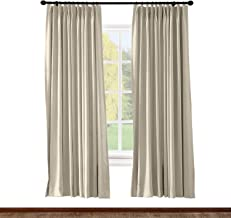 ChadMade Pinch Pleated Curtain 100W x 84L Inch Solid Thermal Insulated Blackout Patio Door Panel Drape for Traverse Rod and Track, Beige (1 Panel)