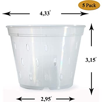 Orchid Pots with Holes Plastic - 4.5 inch - Plastic Clear Slotted Orchid Pots - Liners Inner Planter Cups for Orchids - Planting Pot Containers for Orchids Transparent Indoor Outdoor Plants Set-5 Pack