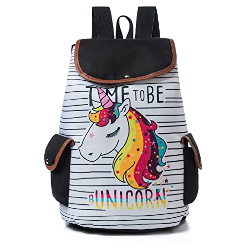 e98d225d7126 Drawstring Design Travel Rucksack For Teenager Girls Cartoon Unicorn  Flamingo Printed School Backpack Canvas Lady School