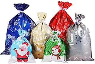 Christmas Bags Large Size Christmas Wrapping Assorted Styles Christmas Goody Bags with Ribbon Ties for Christmas Party Xma...
